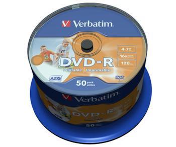 DVD-R Verbatim 16x spindl po 50ks Printable NO ID