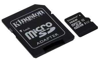 Kingston micro SDHC karta 16GB Canvas Select UHS-I U1 + SD adaptér