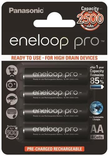 Panasonic Eneloop Pro AA, akumulátory blistr 4 ks, 500 cyklů (3HCCE/4BE)